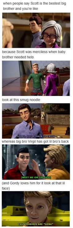 The difference between Virgil and Scott. Thunderbirds Are Go, Nerd Herd, Old Love, How Beautiful, I Laughed, Fandoms, Web Series, Caricatures, Fun Stuff