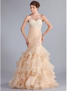 Special Occasion Dresses - $202.99 - Mermaid Sweetheart Floor-Length Organza Prom Dress With Ruffle Lace Beading  http://www.dressfirst.com/Mermaid-Sweetheart-Floor-Length-Organza-Prom-Dress-With-Ruffle-Lace-Beading-018026261-g26261