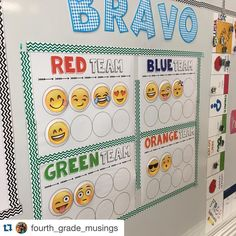 pinner says: Loving how set up her emoji teams! with ・・・ Loving the new bravo system! 5th Grade Classroom, Classroom Community, Classroom Setting, Classroom Design, School Classroom, Classroom Themes, Classroom Organization, Organization Ideas, Classroom Behavior Management
