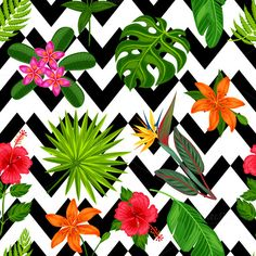 Patterns with tropical plants. by incomible on @creativemarket
