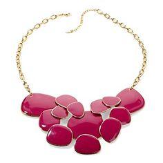 "IMAN Global Chic 23-1/4"" ""Pop of Color"" Enamel Statement Necklace - I like it in Orange $59.95"