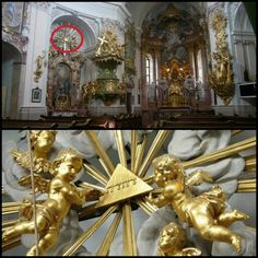 Jehovah God's name on top of alter art at The Church of Hafnerberg, Austria