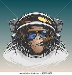 Monkey astronaut illustration