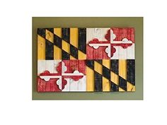 Rustic+3-Dimensional+and+Textured+Maryland+Flag+Constructed+from+Reclaimed/Repurposed+Wood+(Free+Shipping)