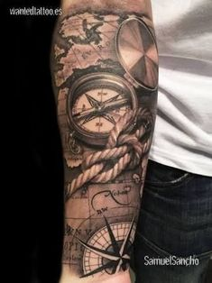 What does pirate tattoo mean? We have pirate tattoo ideas, designs, symbolism and we explain the meaning behind the tattoo. Cool Forearm Tattoos, Forearm Tattoo Design, Diy Tattoo, Rope Tattoo, Map Tattoos, Body Art Tattoos, Anchor Tattoos, Tattoo Ideas Tumblr, Underarm Tattoo