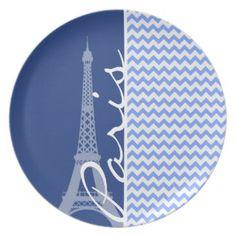 Blue Chevron; Paris Party Plates