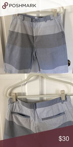 Great condition men's Calvin Klein shorts Mixed media 100% cotton shorts in fantastic condition. These have different patterns in each section lending them depth. Different shades of grey and blue ready for warm weather wear Calvin Klein Shorts Flat Front