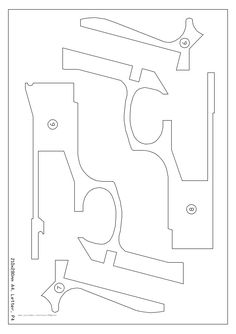 Pistol pattern. Use the printable outline for crafts
