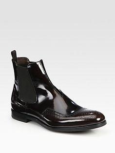 Prada Spazzolato Wing-Tip Chelsea Boot