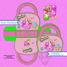 Shopkins Purse Shaped treat box - Birthday Purse shaped Goodie Box - Instant Download