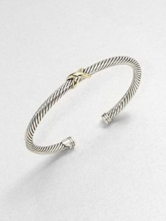 David Yurman - Sterling Silver & 18K Gold X Bangle Bracelet