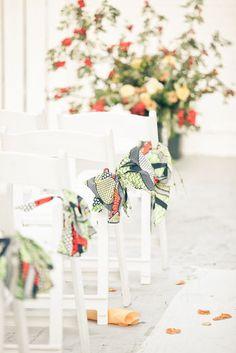 African fabric as wedding aisle ribbon. African Wedding Theme, African Theme, Wedding Themes, Wedding Designs, Wedding Styles, African Weddings, Wedding Ideas, African Style, Decor Wedding