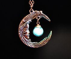 Silver MOON with tiny Glass Bubble Necklace that GLOW in the DARK #Locket