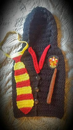 Handmade Crochet Harry Potter Inspired Baby Outfit Hogwarts Cloak Magic Wand Unique One of a Kind Baby Shower Outfit Photography Prop