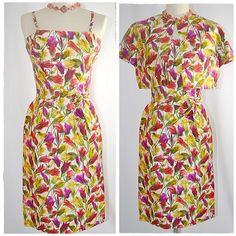 Vintage 1960s Bright Floral Wiggle Dress and by ChrisMartinDesigns