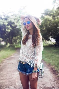 The lace shirt is perfect with cut-offs