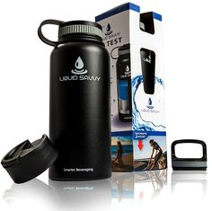 Liquid Savvy 32 oz Insulated Water Bottle with 3 lids - Stainless Steel, Wide Mouth Double Walled Vacuum Insulated Bottle for Hot and Cold Beverages >>> Discover this special product, click the image : Hiking food