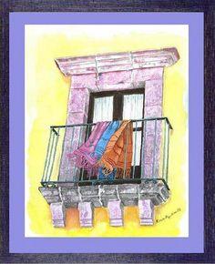 chalinas en balcón acuarela watercolor