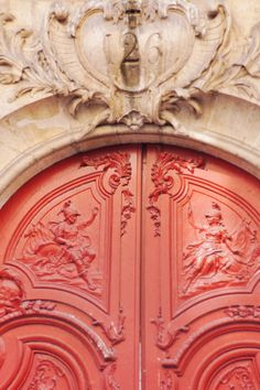 Carved Red Door