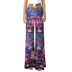 $13.02 Ethnic Mid-Waisted Classical Printed Palazzo Pants For Women