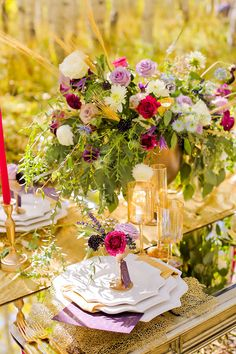 Fuchsia, Purple and Gold Fall Wedding Decor | Michelle Leo Events | Pepper Nix Photography
