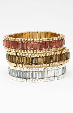 Anne Klein 'Change Channels' Stretch Bracelet available at #Nordstrom - in gold/olive