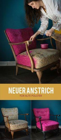 Neuer Anstrich für alte Polster - Neuer Look für den Sessel mit Acrylfarbe, Möbel anstreichen, DIY,Chippendale-Sessel, Restauration, Stoff bemalen, via Art & Almonds