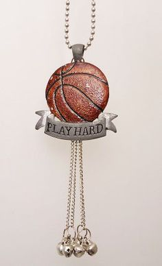 """Basketball """"Play Hard"""" Pewter Rear View Mirror Charm"""