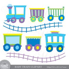 BABY TRAIN Clipart Digital Baby Boy Clip Art, Instant Download, Sticker Style Icons