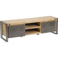 Organize your entertainment space with this rustic Miller Lake TV table. This table features a large surface so you can show off large televisions and multiple small compartments that help you store and organize small electronics.