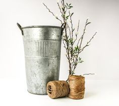 Vintage Tall Galvanized Flower Pail / Bucket With by tawneyvintage, $35.00