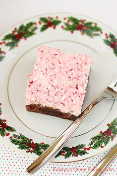 Fudgy Brownies with Candy Cane Frosting from @RoxanaGreenGirl | Roxana's Home Baking