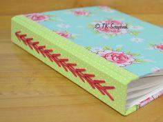 Caderno com encadernação triple chain em tecido #tkscrapbook