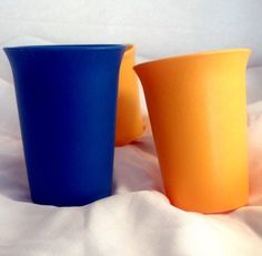 Vintage Tupperware Tumblers Sunny Yellow and Blue by vintagepoetic