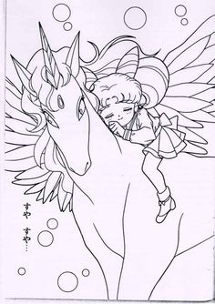 chibi moon and pegasus line art | sailor moon pegasus Colouring Pages