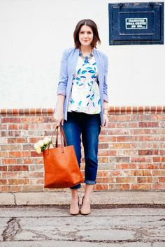 I think this is from Kendi Everyday? Love the rolled up skinny jeans, nude shoes, and the peplum top with lightweight cardi.