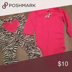 Pink Zebra Long sleeve onesie w heart pants Adorable onesie and pants set! From a pet/smoke free home. ! Carter's Matching Sets