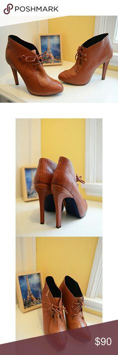 """Rebecca Minkoff Rust-Hued """"Dameon"""" Leather Booties These are incredibly well-built textured lace-up leather booties from Rebecca Minkoff. The heel measures 5.25"""". Brand new, in box. Enjoy! Rebecca Minkoff Shoes Ankle Boots & Booties"""
