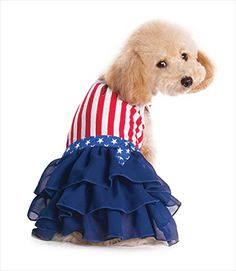 Celebrate your patriotism in style! The red and white striped top slips over your dog's head, and offers a leash hole to use while walking. A navy blue, multi-ruffle skirt is topped with a the stars of the USA flag. Product Care Hand wash and air dry.