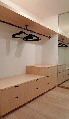black pipe closet fittings - i really like the simplicity of this closet layout. Closet Remodel, Closet Makeover, Home, Master Bedroom Closet, Bedroom Design, Closet Designs, Bathroom Closet, Closet Layout, Dream Closet Clothes