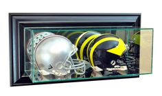 Wall Mounted Double Mini Helmet Display Case with Mirrors