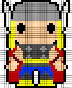 Marvel Thor perler bead pattern cross stitch pattern