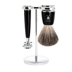 Muhle Rytmo 3-Piece Shaving Set with Safety Razor and Pure Badger Brush, Black