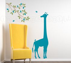 Safari Jungle Decal, Giraffe Wall Decal with Branch and Birds, Branch Wall Decal with Giraffe for Nursery, Kids or Childrens Room 041