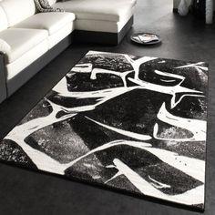 http://ift.tt/1O93eNs Designer Teppich Trendiger Kurzflor Teppich in Schwarz Grau Anthrazit Weiss @Reviewvasii$$