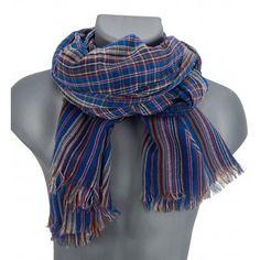 Herrenschal blau rot beige by Ella Jonte  #scarf #menscarf #menfashion