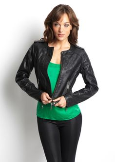 JOU JOU U-Neck Faux Leather Jacket