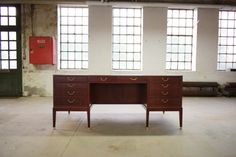 Danish mid century desk in mahogany, Philips Fabrik, three cabinets and on pull-out tablet