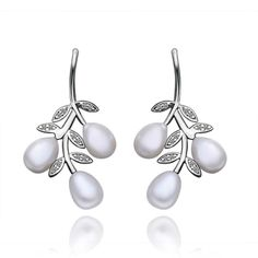 Lady's Genesis Olive Branch of Peace with Imitation Pearl and Clear Stones Brass Stud Earring