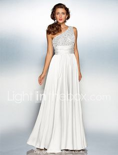 abc3a849a A-Line One Shoulder Floor Length Chiffon Over Satin Sparkle   Shine Prom    Formal Evening Dress with Sequin by TS Couture®. Vestidos De Fiesta ...